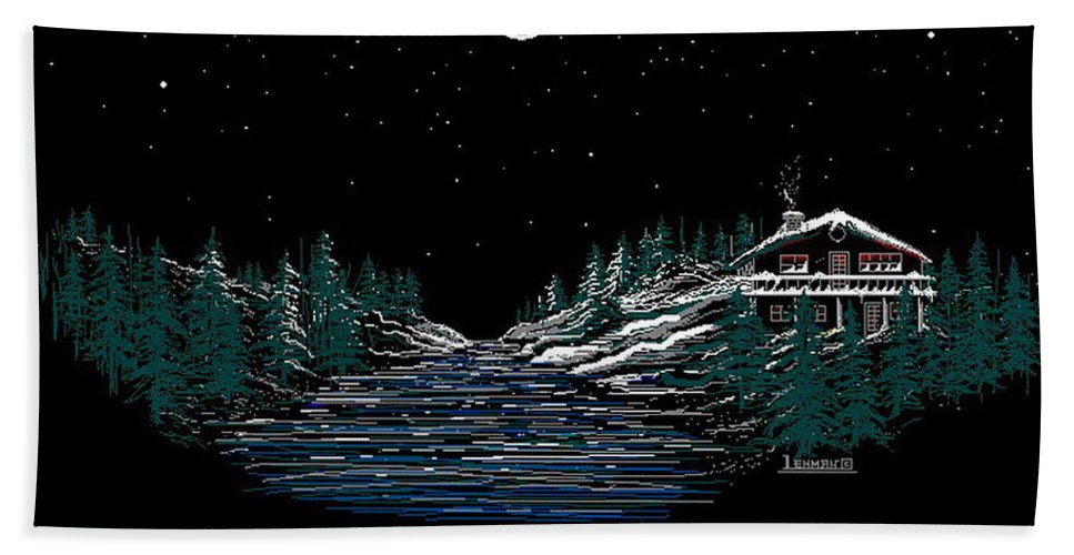 Cold Mountain Winter Beach Sheet featuring the digital art Cold Mountain Winter by Larry Lehman