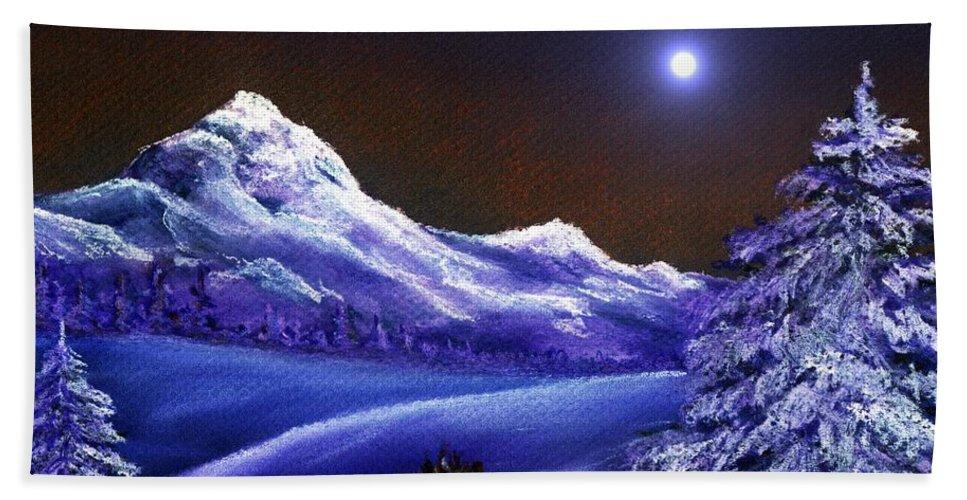 Moon Beach Towel featuring the painting Cold Night by Anastasiya Malakhova
