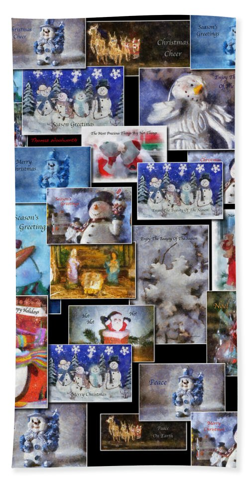 Collage Beach Towel featuring the photograph Collage Xmas Cards Vertical Photo Art by Thomas Woolworth