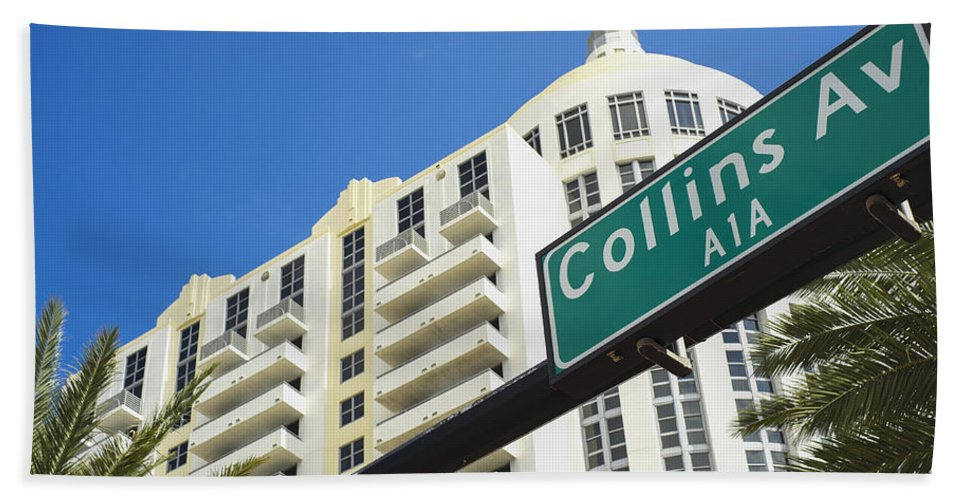 Architecture Beach Towel featuring the photograph Collins Avenue by Raul Rodriguez