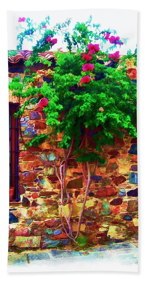 Ancient Beach Towel featuring the photograph Colonia Del Sacramento Window by Joan Minchak