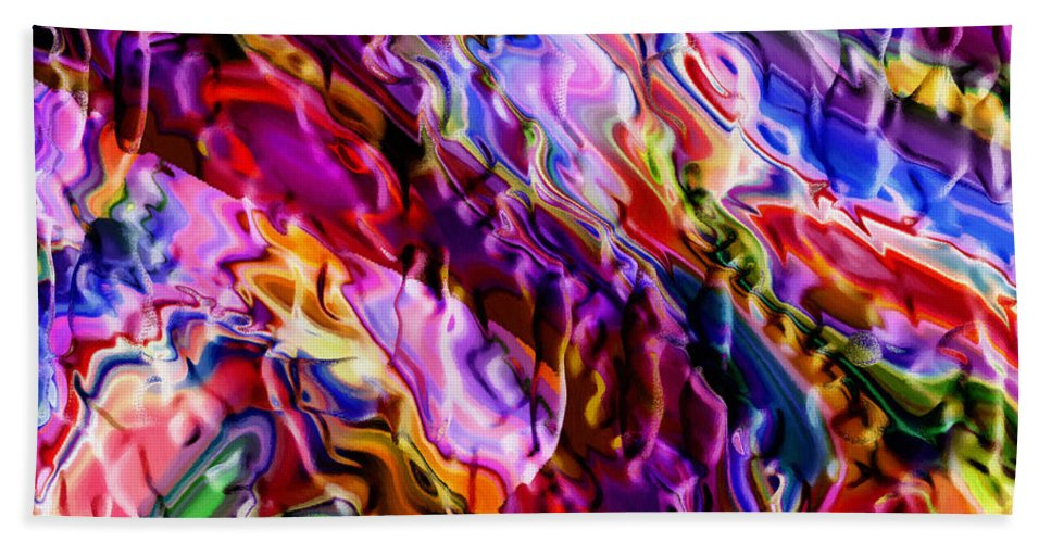 Abstract Color Colorful Evolution Expressionism 3d Structure Painting Modern Art Beach Towel featuring the painting Color Evolution by Steve K