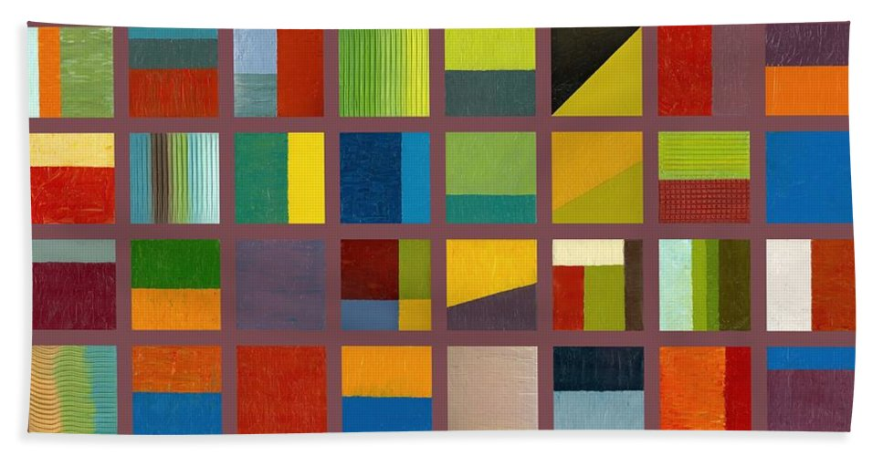 Abstract Beach Towel featuring the painting Color Study Collage 65 by Michelle Calkins