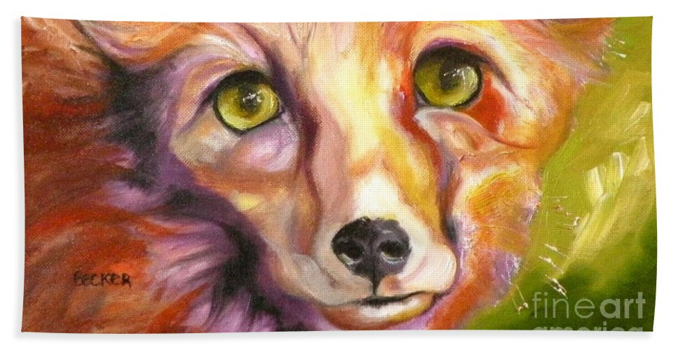 Oil Painting Beach Towel featuring the painting Colorado Fox by Susan A Becker