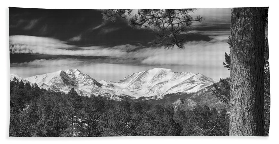 Rockies Beach Towel featuring the photograph Colorado Rocky Mountain View Black And White by James BO Insogna