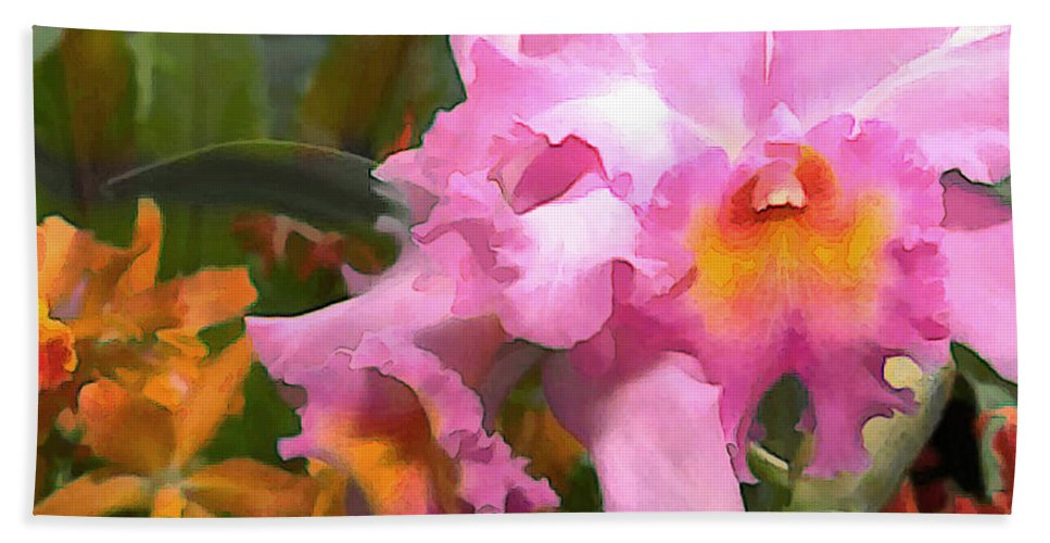 Orchid Beach Towel featuring the painting Colorful Assorted Cattleya Orchids by Elaine Plesser