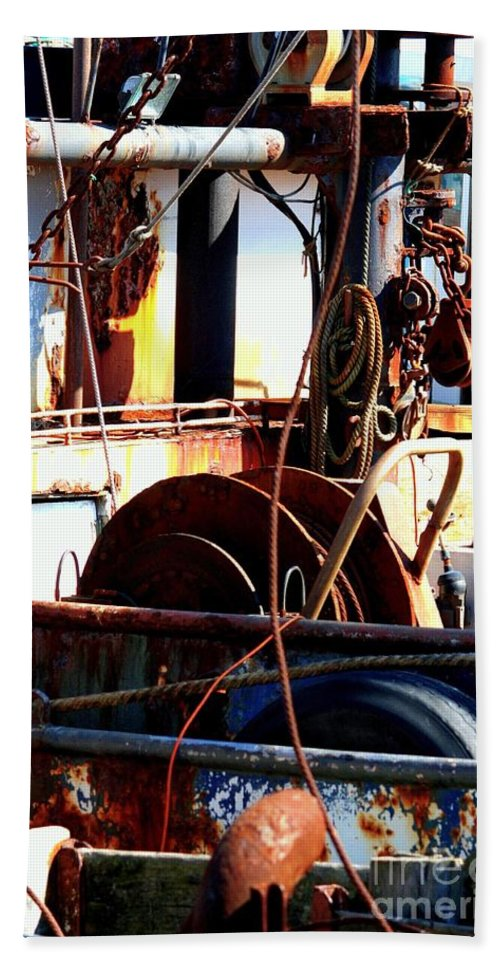 Rust Bucket Beach Towel featuring the photograph Colorful Boat by Carol Groenen