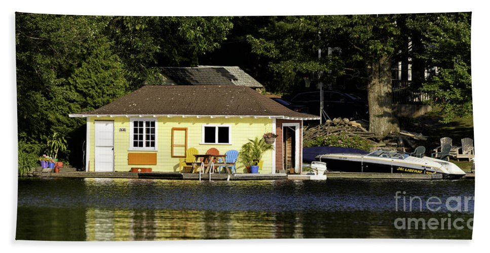 Boathouse Beach Towel featuring the photograph Colorful Boathouse by Les Palenik