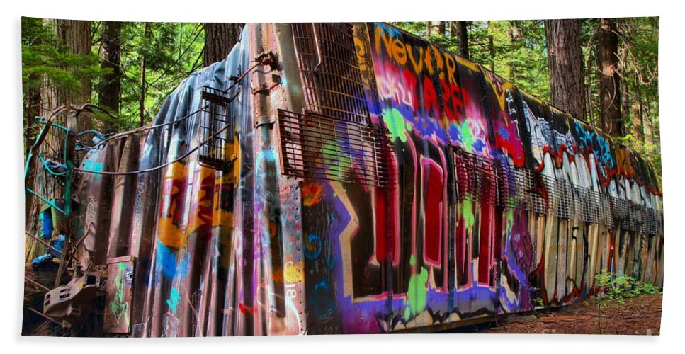 Train Wreck Beach Towel featuring the photograph Colorful Box Car In The Forest by Adam Jewell