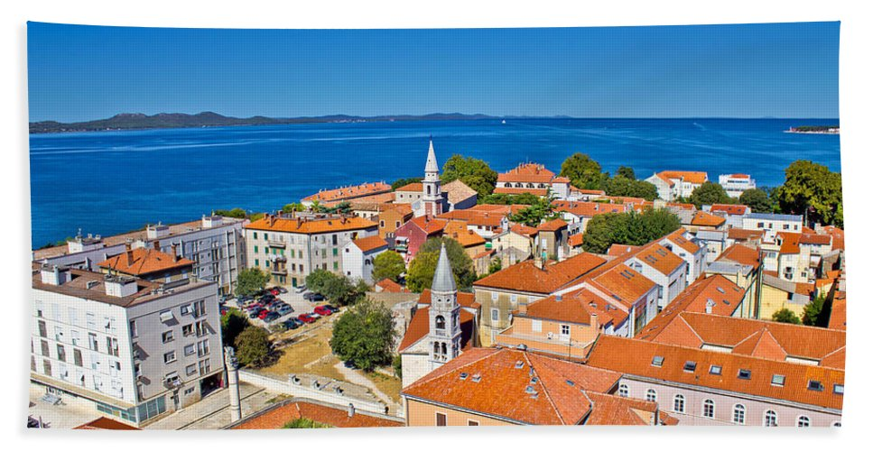 Zadar Beach Towel featuring the photograph Colorful City Of Zadar Rooftops Towers by Brch Photography