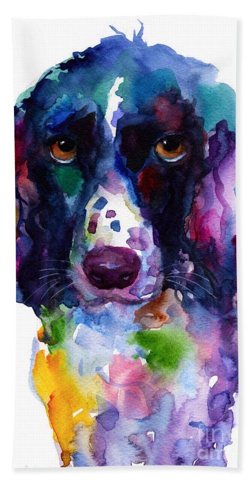 Hunter Dog Beach Towel featuring the painting Colorful English Springer Setter Spaniel dog portrait art by Svetlana Novikova