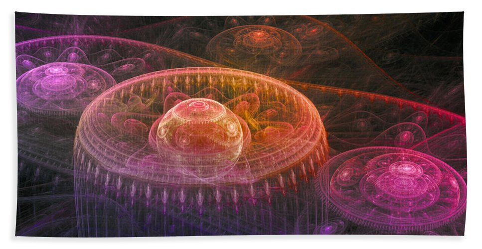 Abstract Beach Towel featuring the digital art Colorful Fantasy Landscape by Martin Capek