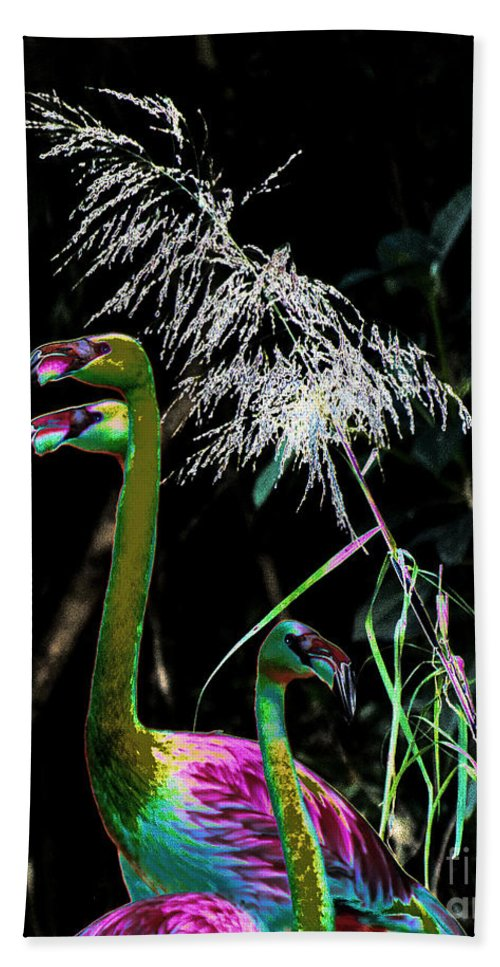 Colorful Beach Towel featuring the photograph Colorful Flamingos by Les Palenik