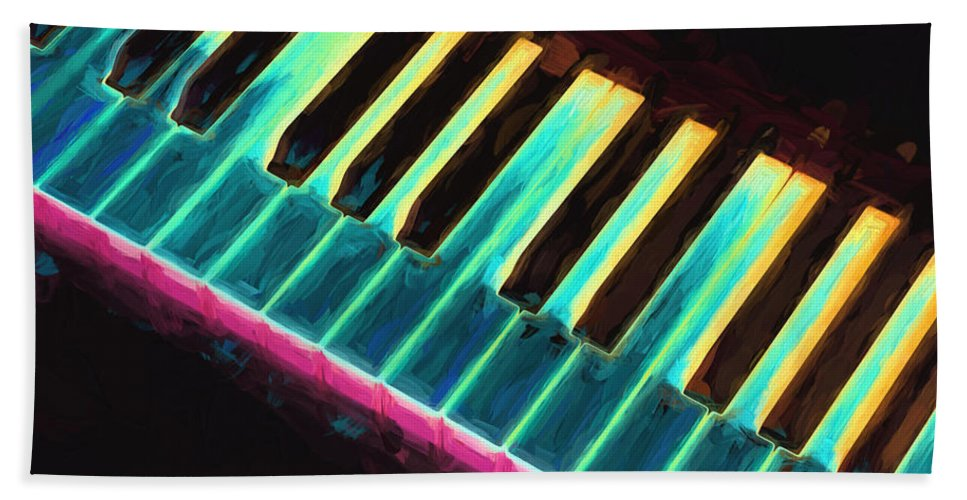 Piano Beach Towel featuring the painting Colorful Keys by Bob Orsillo
