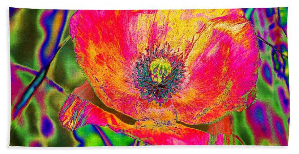 Poppy Beach Towel featuring the digital art Colorful Poppy by Carol Lynch