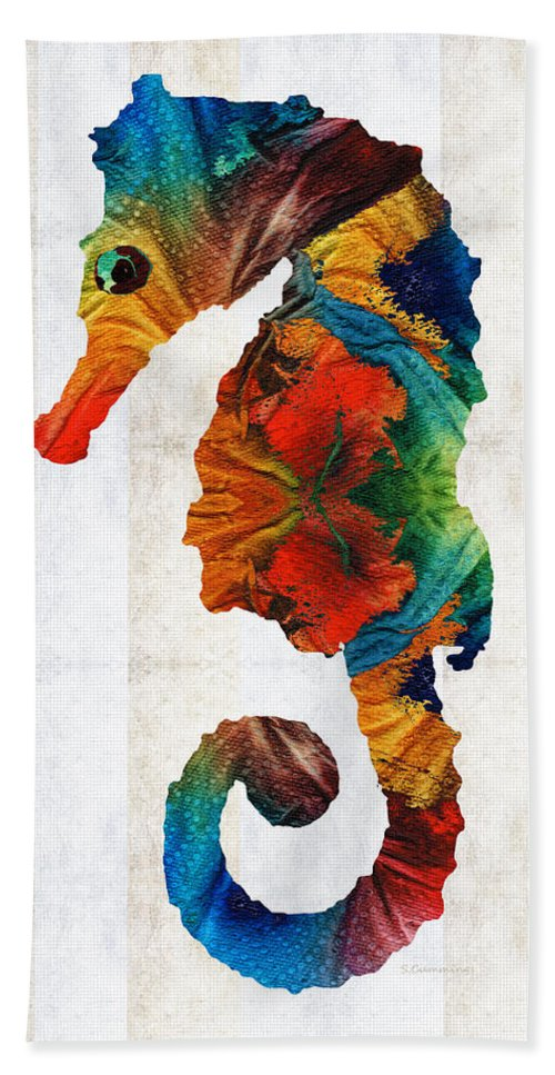 Seahorse Beach Towel featuring the painting Colorful Seahorse Art by Sharon Cummings by Sharon Cummings