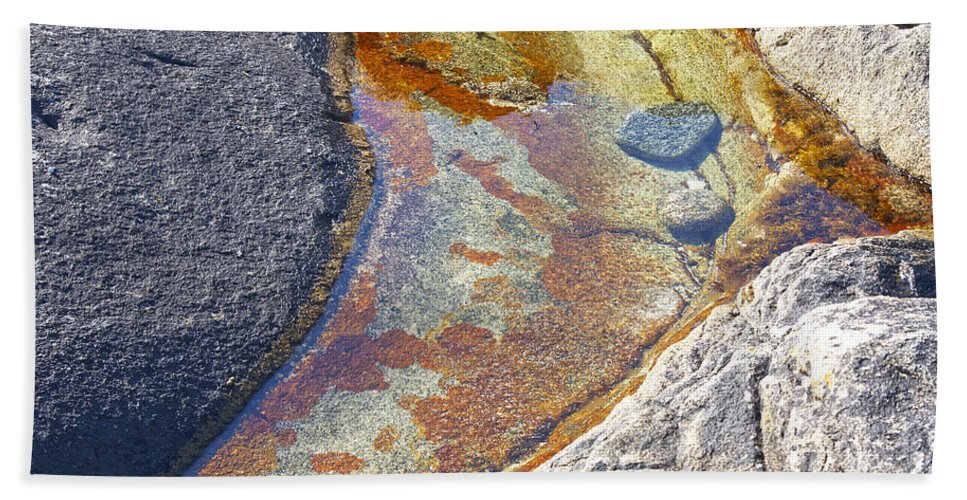Lichen Beach Towel featuring the photograph Colors On Rock by Heiko Koehrer-Wagner