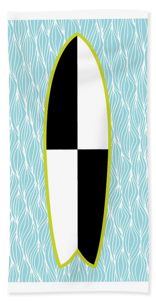 Susan Claire Beach Towel featuring the photograph Colour Block Surfboard by MGL Meiklejohn Graphics Licensing