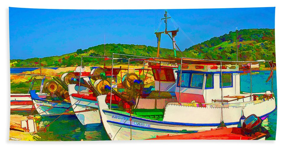 Europe Beach Towel featuring the digital art Colourful Boats by Roy Pedersen