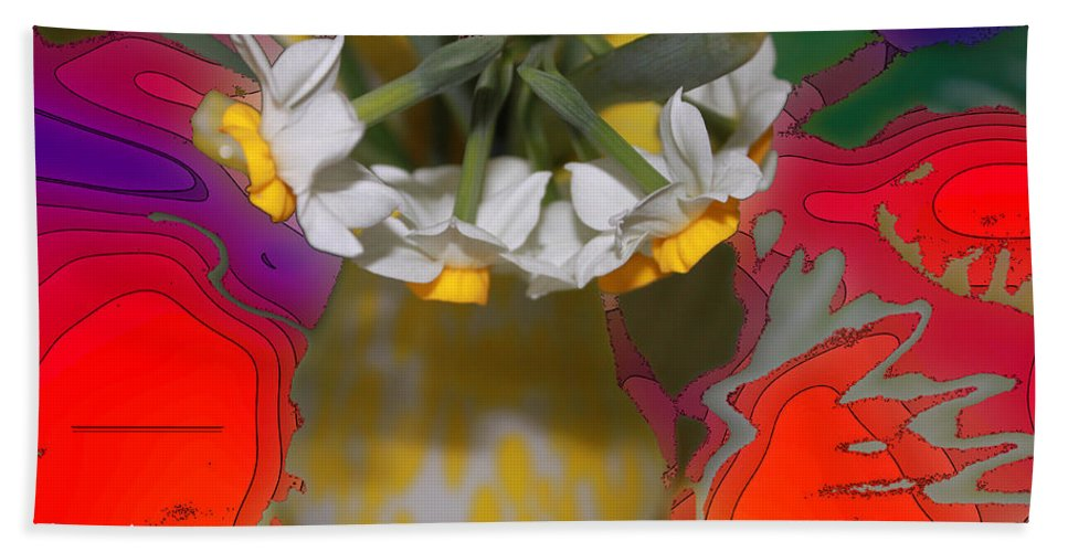 Spring Beach Towel featuring the digital art Colourful Flowers by Augusta Stylianou