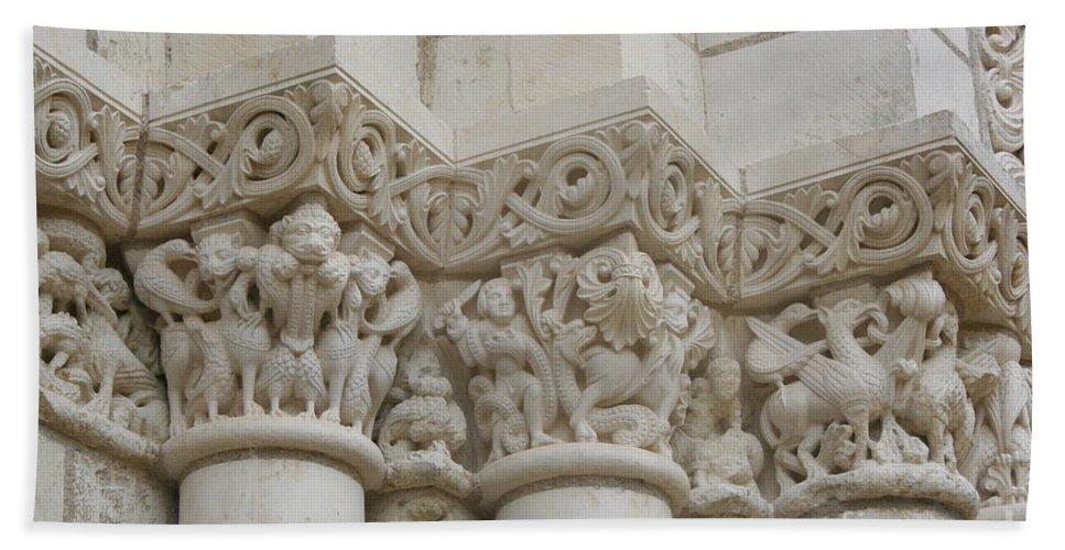 Frieze Beach Towel featuring the photograph Column Relief Abbey Fontevraud by Christiane Schulze Art And Photography