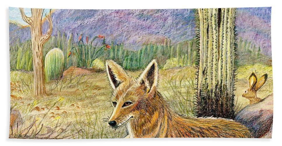 Coyote Beach Towel featuring the drawing Come One Step Closer by Marilyn Smith