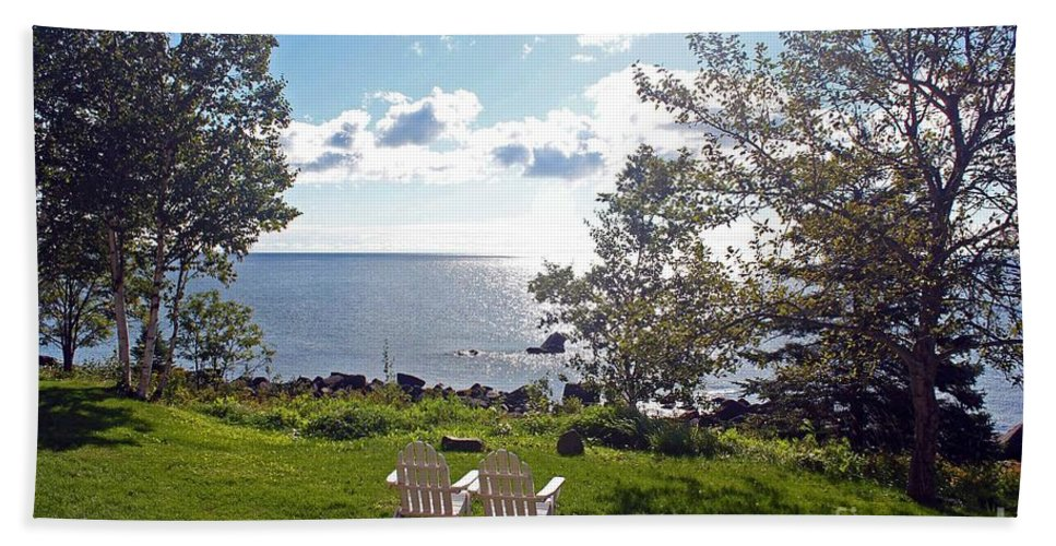 Lake Superior Beach Towel featuring the photograph Come Sit With Me by Stephanie Hanson