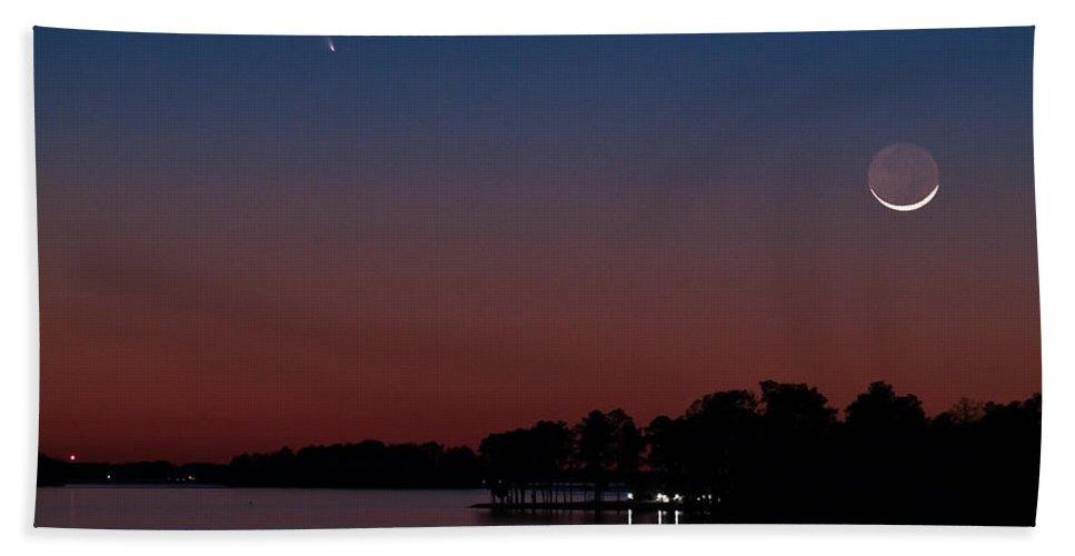Comet Beach Sheet featuring the photograph Comet Panstarrs And Crescent Moon by Charles Hite