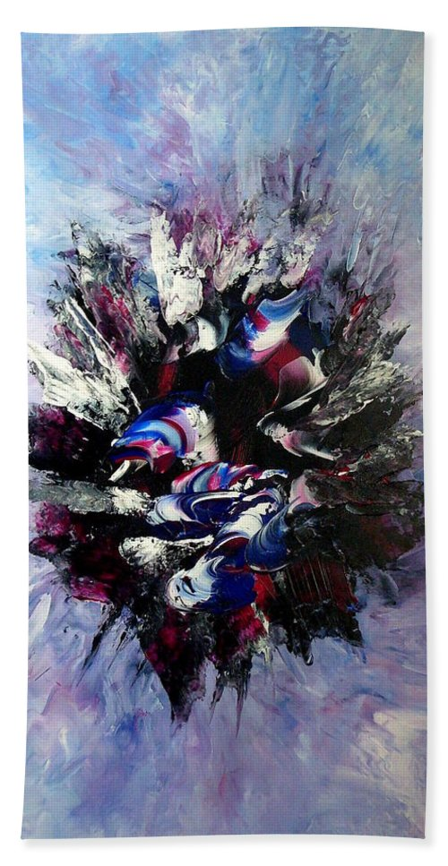 Abstract Beach Towel featuring the painting Coming From The Other Side Of Life by Isabelle Vobmann