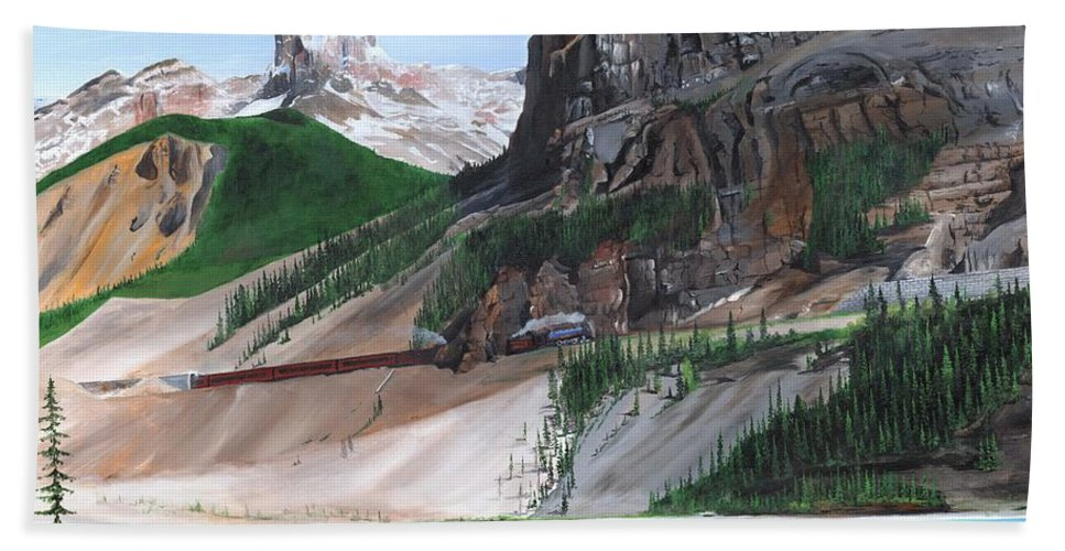 Canadian Rockies Beach Towel featuring the painting Coming Into Field by Glen Frear