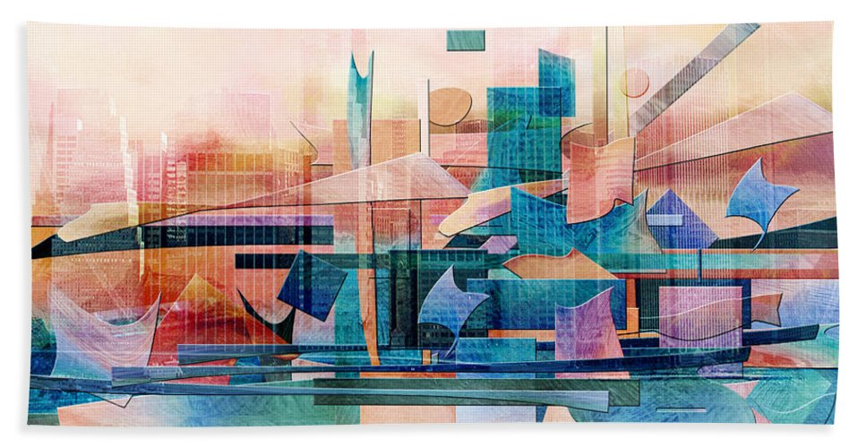 Commerce Puzzle Beach Towel featuring the digital art Commerce by Jean Moore