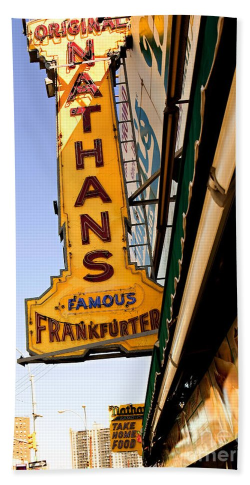 Original Nathans Beach Towel featuring the photograph Coney Island Memories 1 by Madeline Ellis