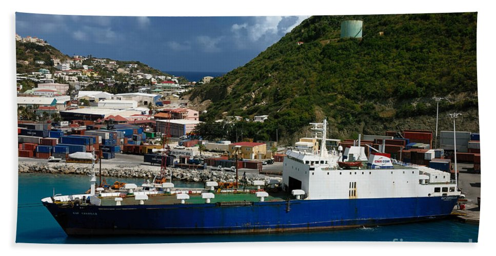 Boat Beach Towel featuring the photograph Container Ship St Maarten by Amy Cicconi