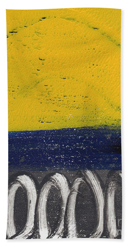 Abstract Beach Towel featuring the painting Contemplation by Linda Woods