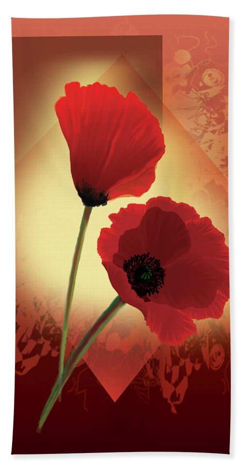 Painting By Gina Femrite Beach Towel featuring the painting Contemporary Wild Poppies by Regina Femrite