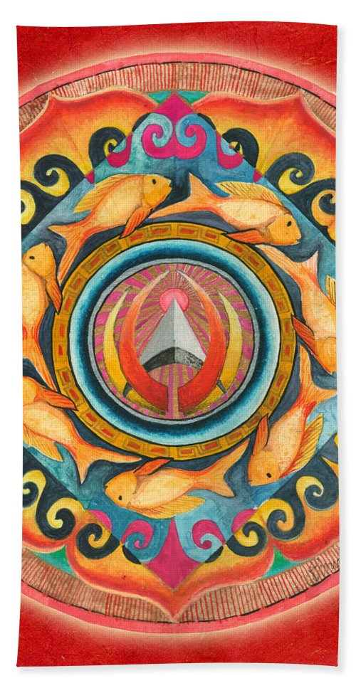 Mandala Art Beach Towel featuring the painting Continuing Mandala by Jo Thomas Blaine