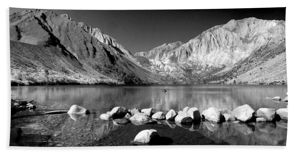 High Sierras Beach Towel featuring the photograph Convict Lake Pano In Black And White by Lynn Bauer