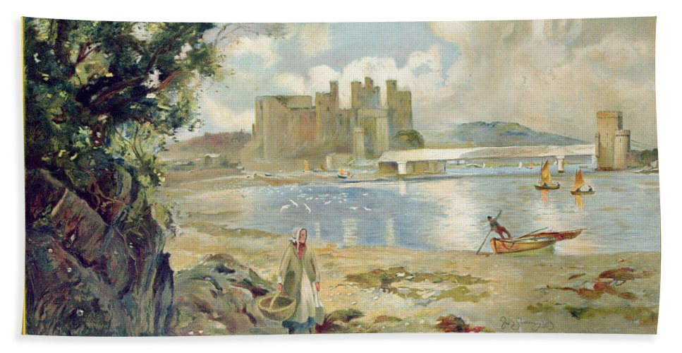Architecture Beach Towel featuring the painting Conway Castle by Sir David Murray