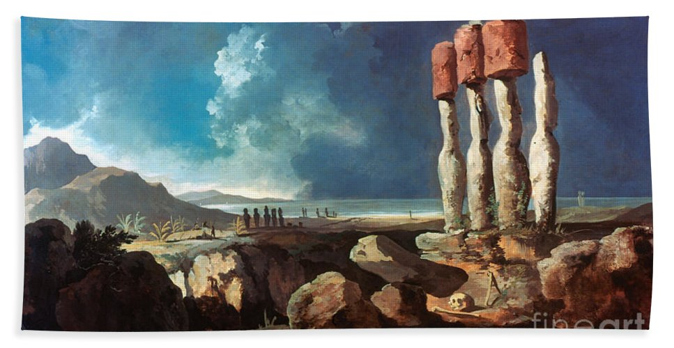 1774 Beach Towel featuring the photograph Cook: Easter Island, 1774 by Granger