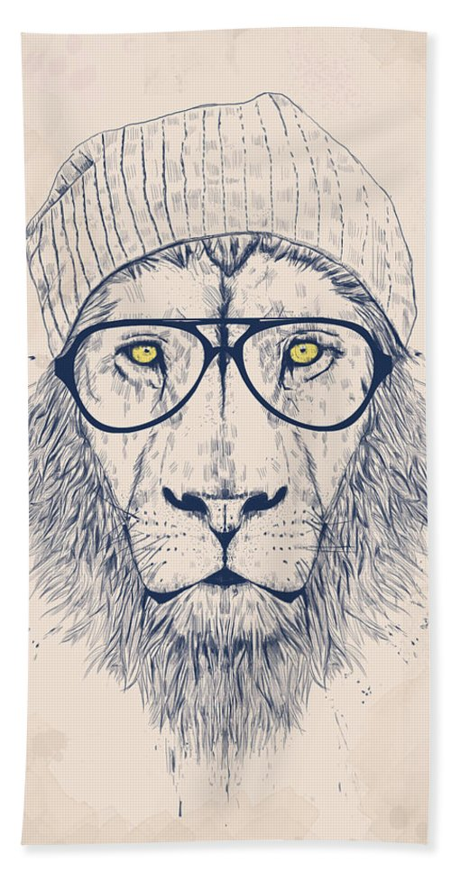 Lion Beach Towel featuring the digital art Cool Lion by Balazs Solti