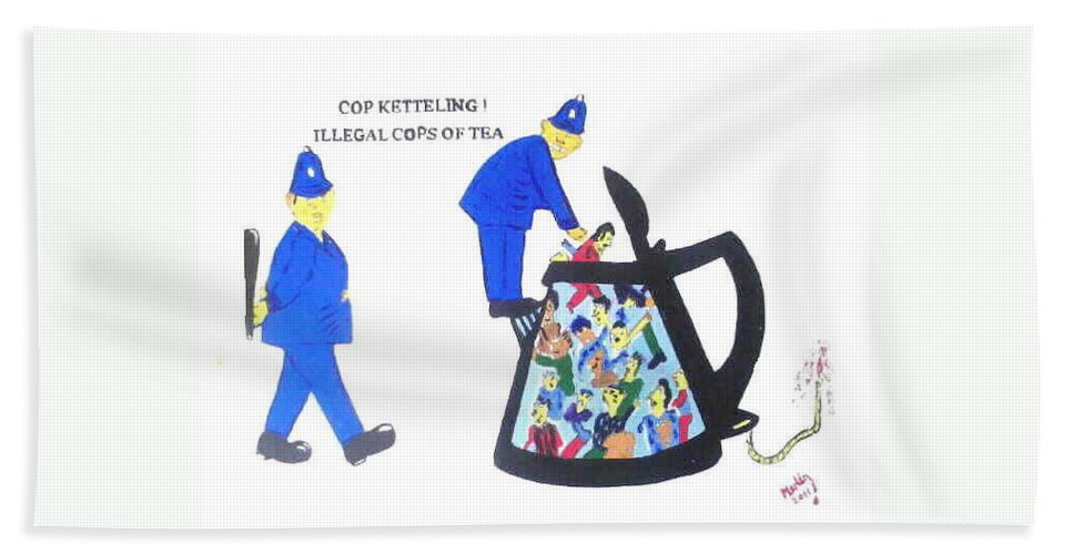 Figureative Beach Towel featuring the painting Cop-ketteling Crowd Controll by MERLIN Vernon