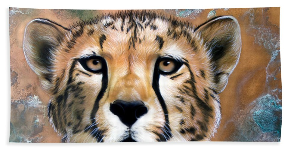Copper Beach Towel featuring the painting Copper Flash - Cheetah by Sandi Baker