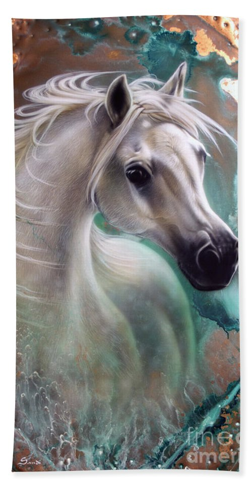 Copper Beach Towel featuring the painting Copper Grace - Horse by Sandi Baker