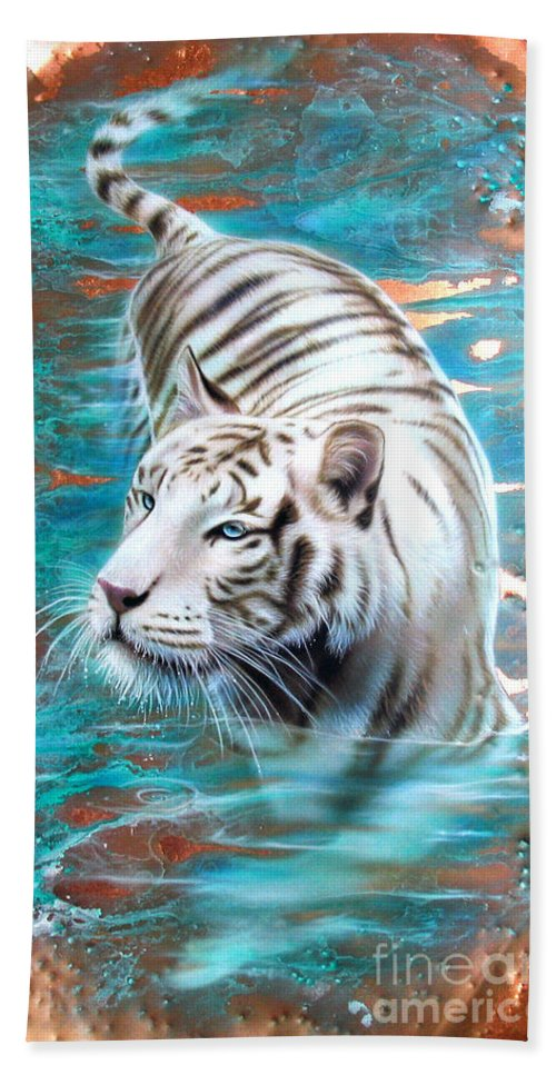 Copper Beach Towel featuring the painting Copper White Tiger by Sandi Baker