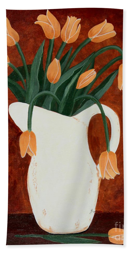 Barbara Griffin Beach Towel featuring the painting Coral Tulips In A Milk Pitcher by Barbara Griffin