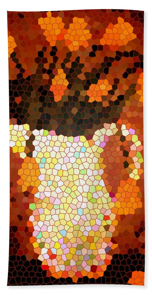 Coral Tulips In Stained Glass Beach Towel featuring the digital art Coral Tulips In Stained Glass by Barbara Griffin