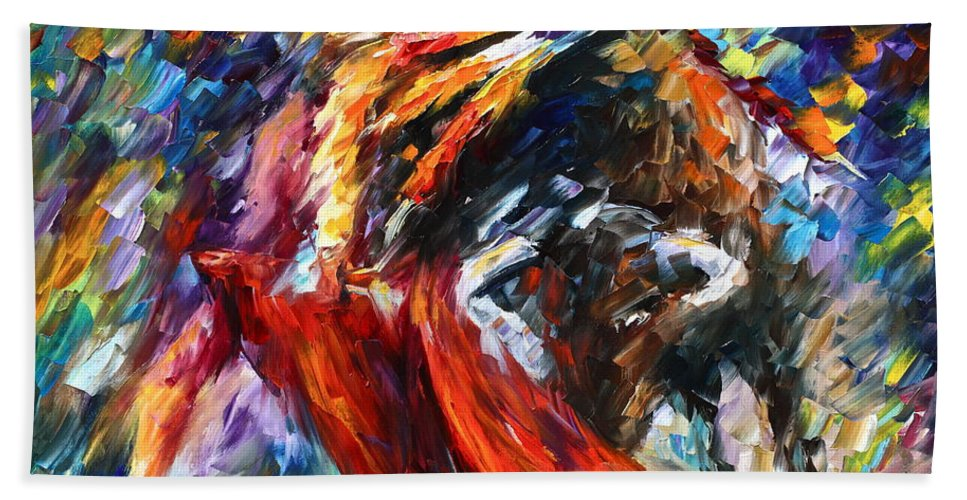Bull Beach Towel featuring the painting Corrida 4 by Leonid Afremov