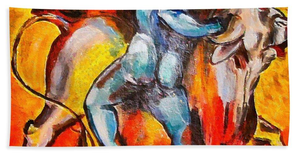 Corrida Beach Towel featuring the painting Corrida - Matador by Dragica Micki Fortuna