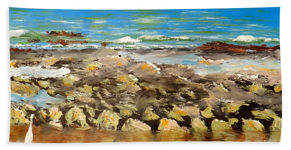 Impressionism Beach Towel featuring the painting Corrimal Beach Near Towradgi Rook Pool by Pamela Meredith