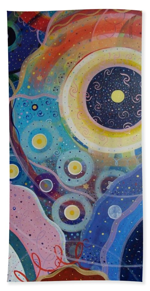 Circles Beach Towel featuring the painting Cosmic Carnival Vl Aka Circles by Helena Tiainen